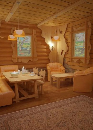 русская баня внутри