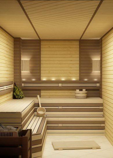 современная баня отделка