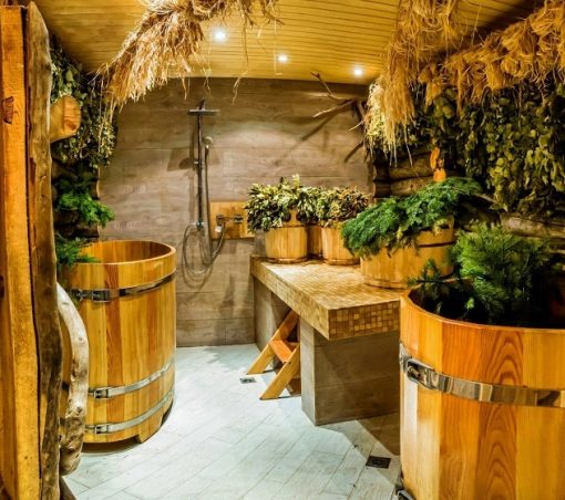 внутренняя отделка русской бани в Москве